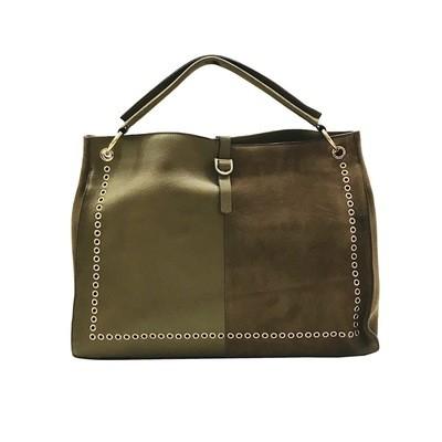 MIA BAG - Sacca Eyelet Leather e Suede con occhielli - Verde Militare