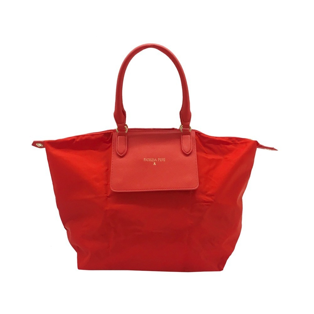 PATRIZIA PEPE - Borsa shopping richiudibile - Orange Red Nylon