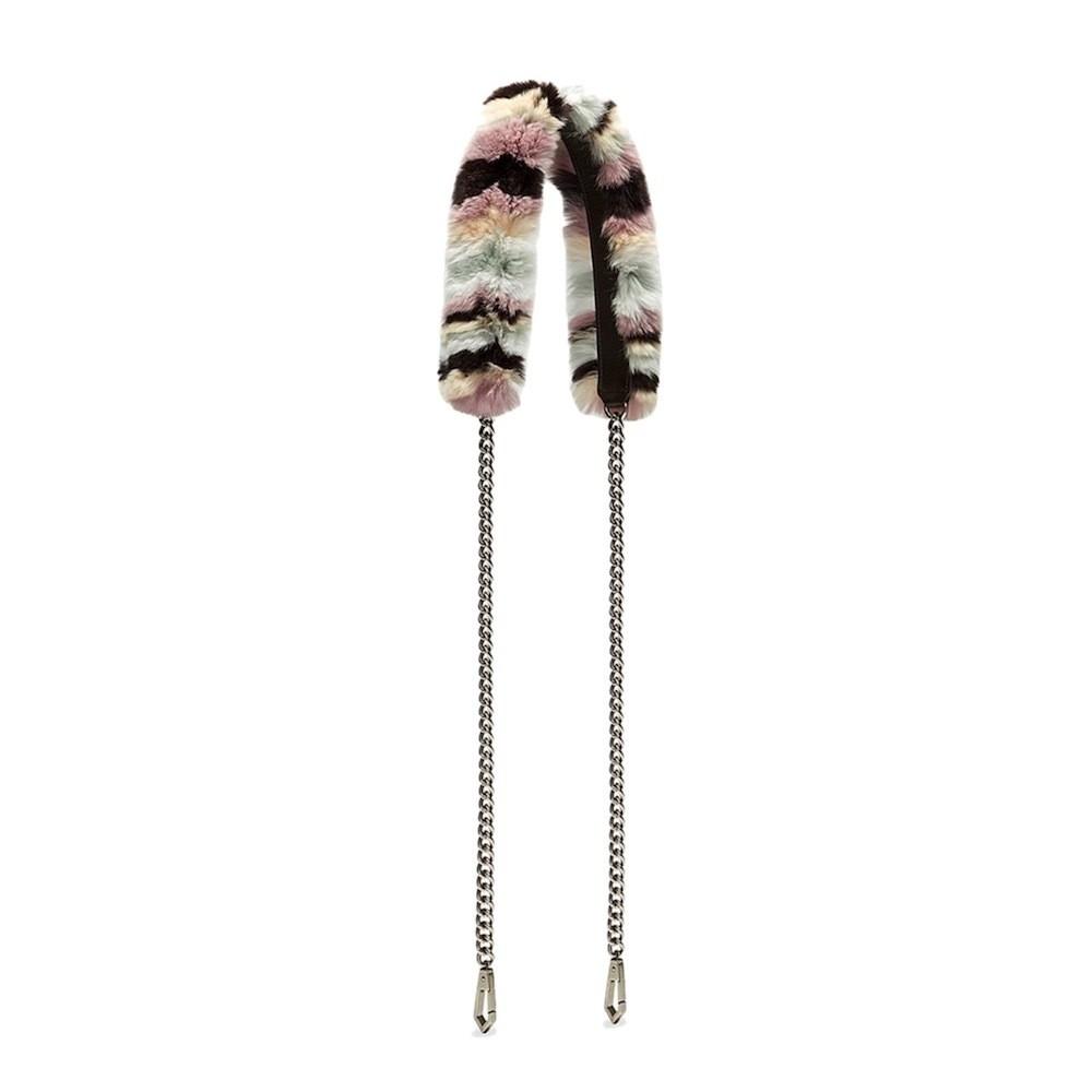 REBECCA MINKOFF - Fur Crossbody Strap with chain - Neutral Multi