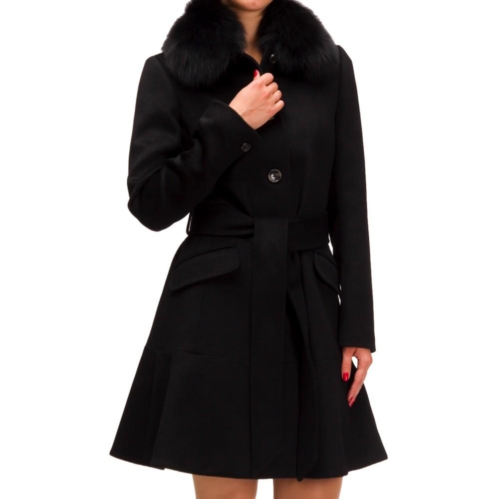 MICHAEL KORS - Cashmere Flounce Coat - Black