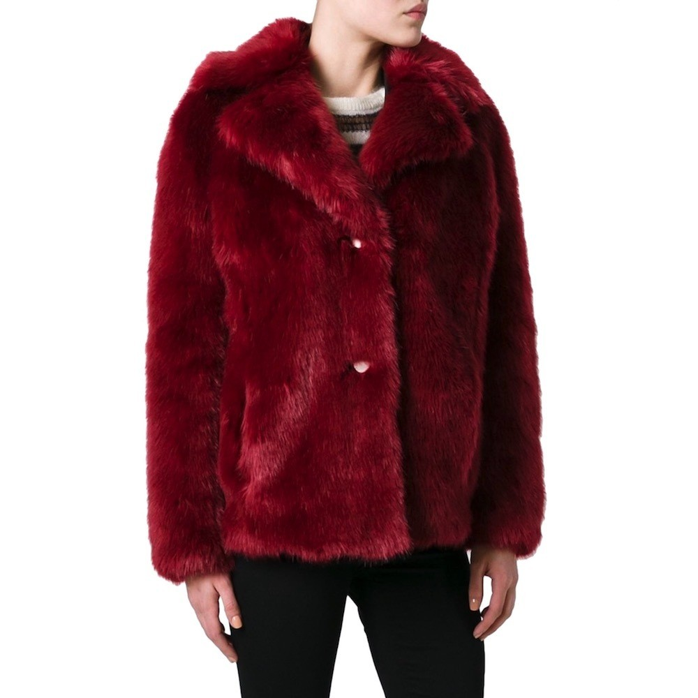 MICHAEL KORS - Faux Fur Peacot  - Raspberry