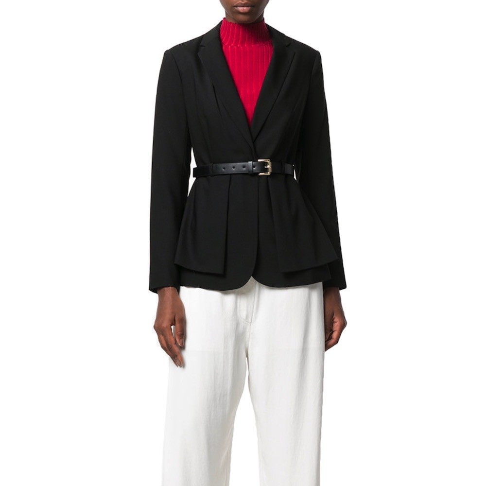MICHAEL KORS - Peplum Belted Jacket - Black