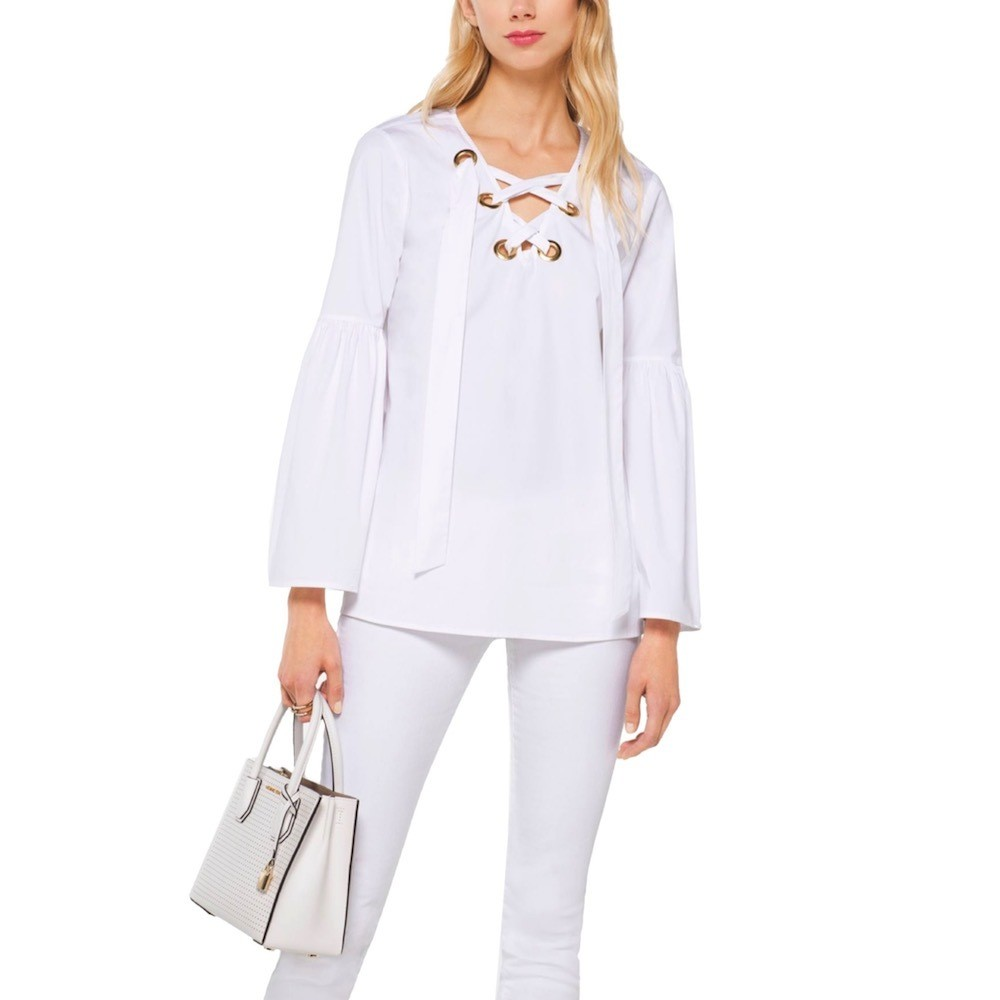 MICHAEL KORS - Blusa in cotone stretch - White