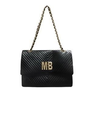 MIA BAG - Tracolla maxi Personalizzabile - Nero con finiture ORO