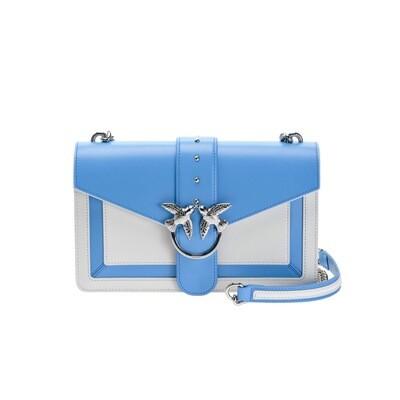 PINKO - Love Bag Evolution in pelle bicolor - Bianco/Azzurro