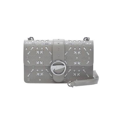 PINKO - Love Bag Laser in pelle laserata - Beige/Bianco