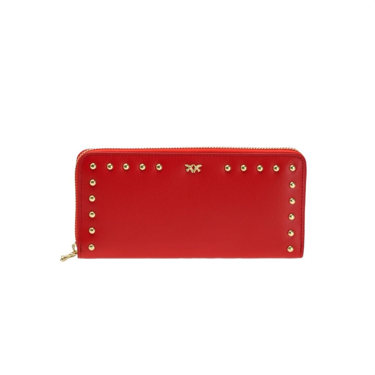 PINKO - Blonde Portafoglio Zip Around in pelle con borchie - Red
