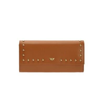 PINKO - Brughiera Portafoglio Continental in pelle con borchie - Light Brown