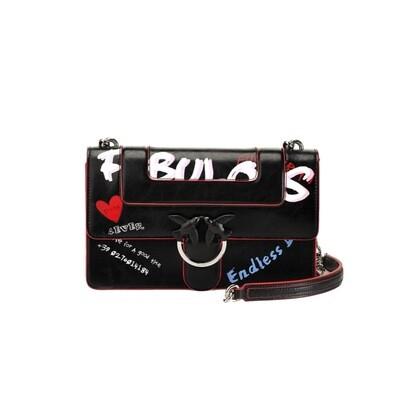 PINKO - Love Bag Fabulous in pelle stampa graffiti - Black