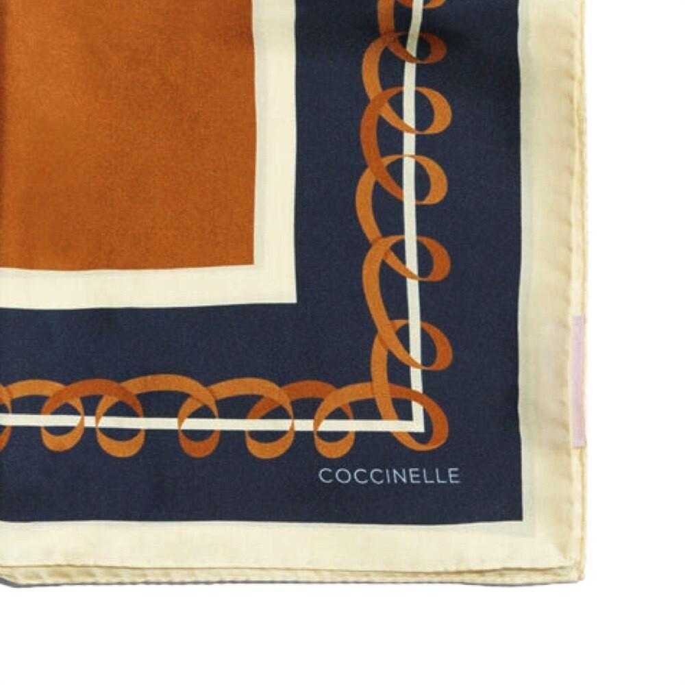 COCCINELLE - Ribbon Foulard in seta - Caramel/Blue