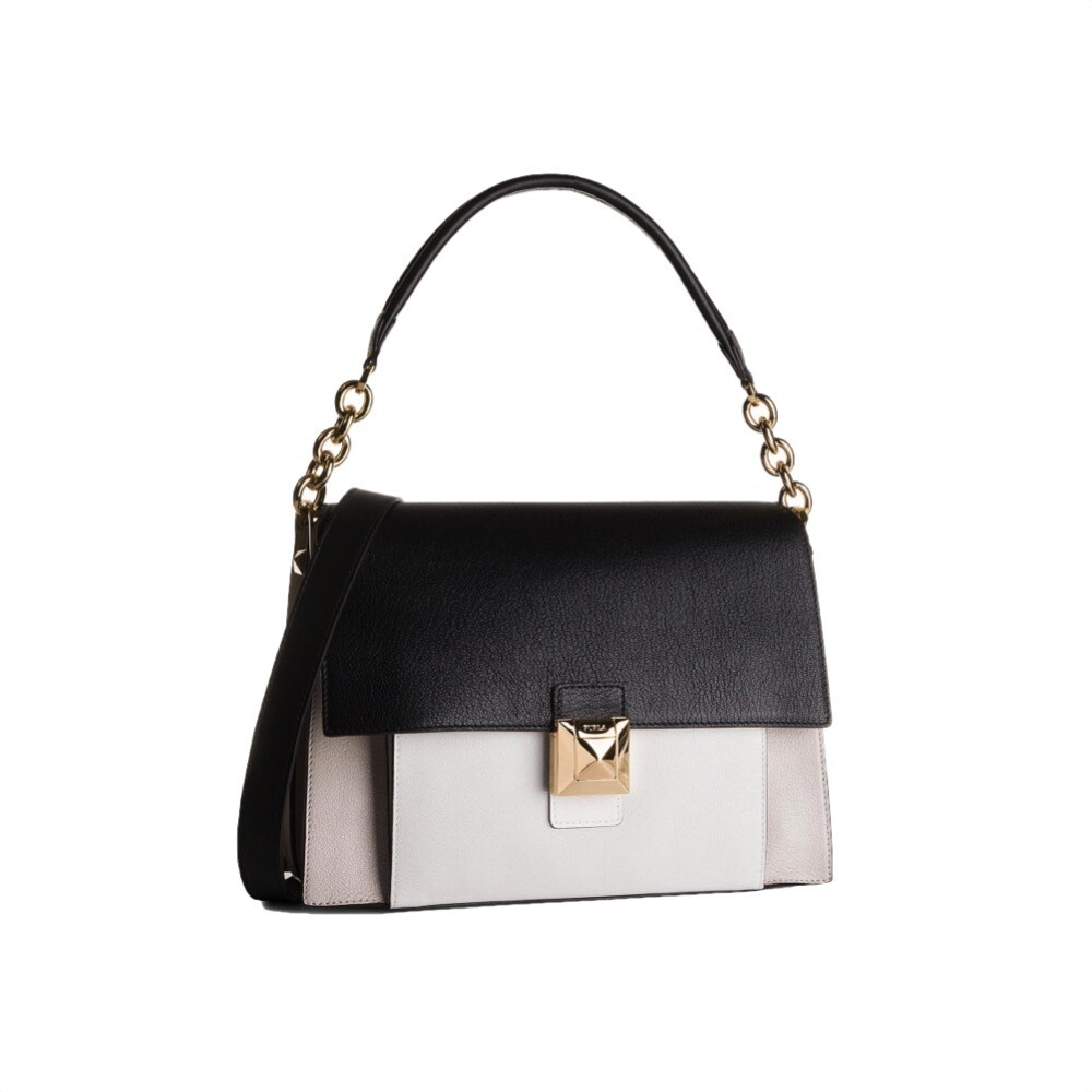 FURLA - Diva M Shoulder Bag - Lino/Onyx/Chalk