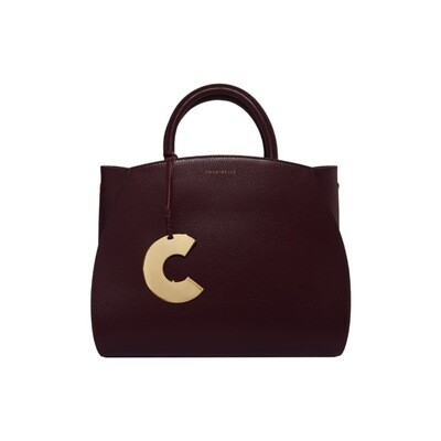 COCCINELLE - Concrete borsa media in pelle - Plum