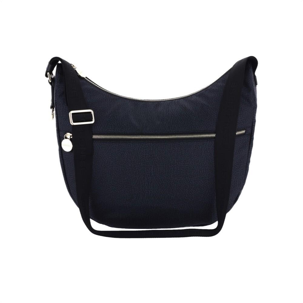 BORBONESE - Luna Bag Medium in Jet OP con tasca - Black