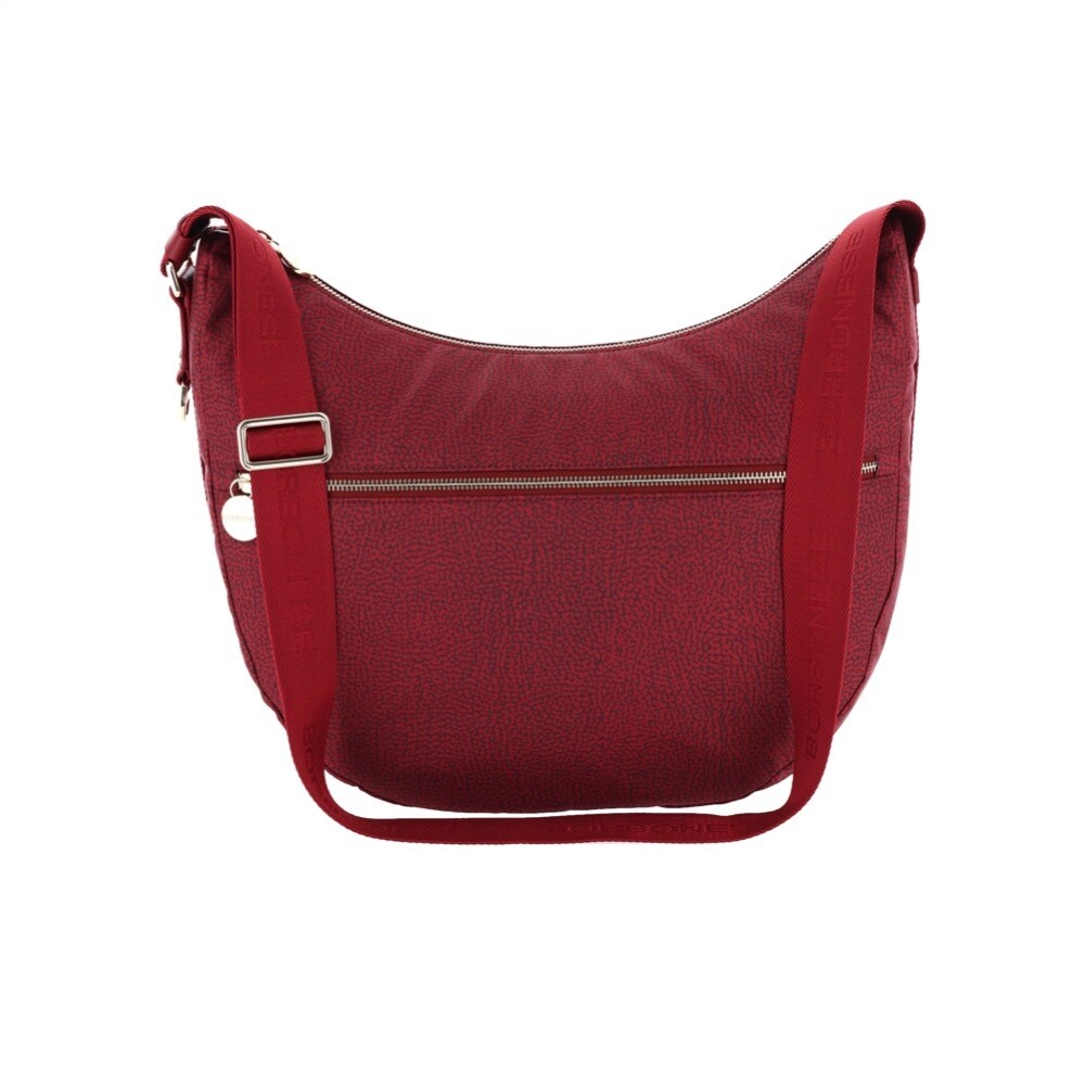 BORBONESE - Luna Bag Medium in Jet OP con tasca - Burgundy