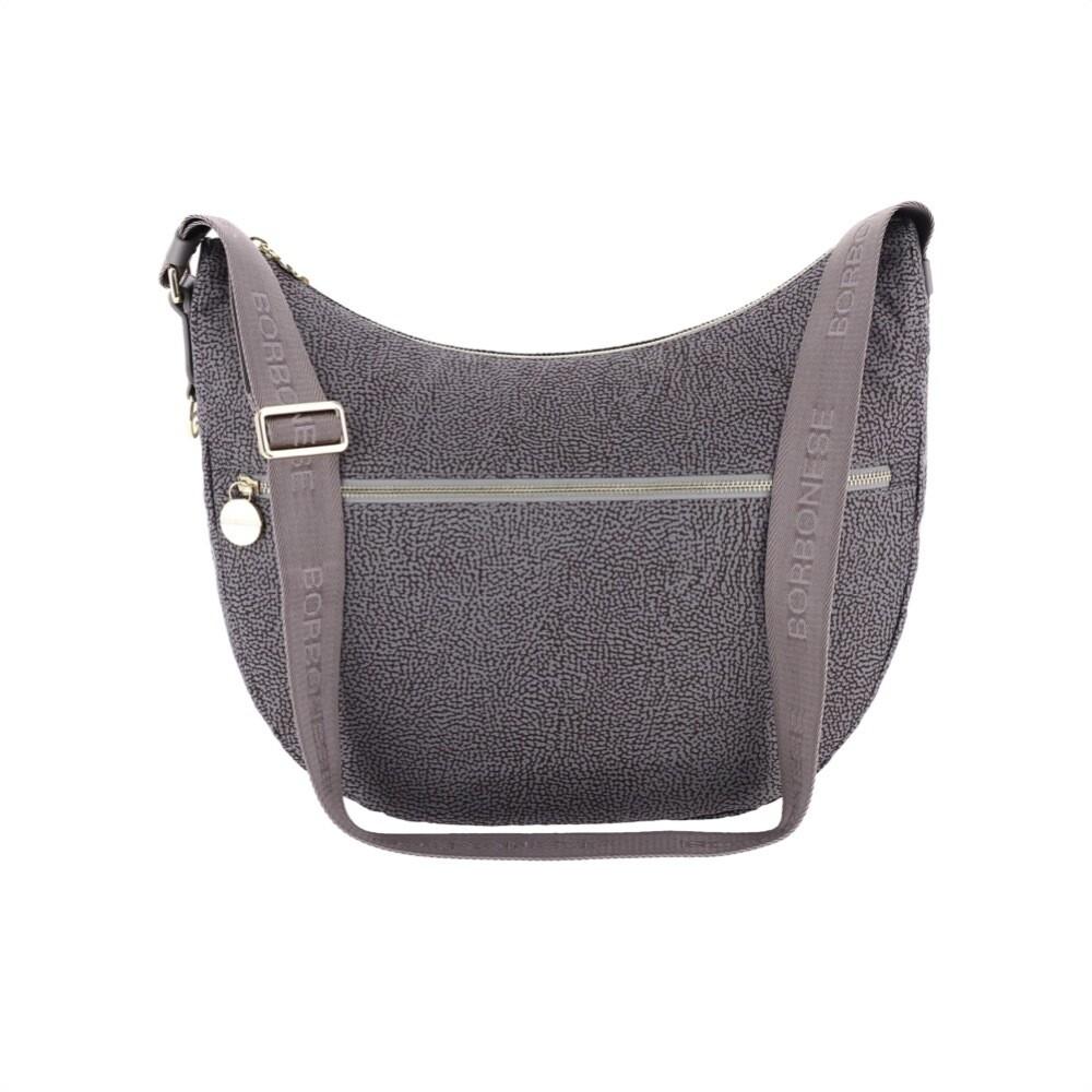 BORBONESE - Luna Bag Medium in Jet OP con tasca - Slate Grey