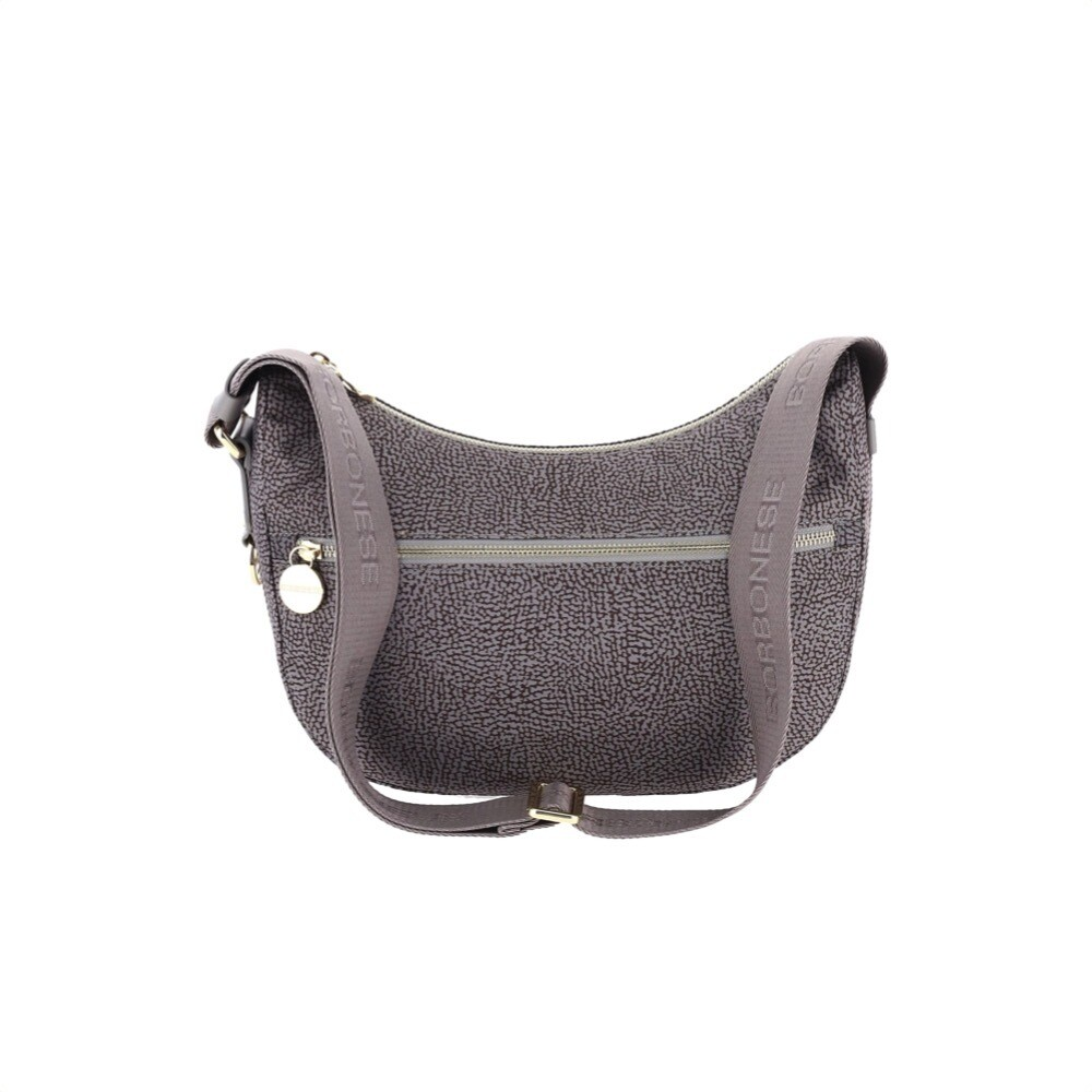 BORBONESE - Luna Bag Small in Jet OP con tasca - Slate Grey