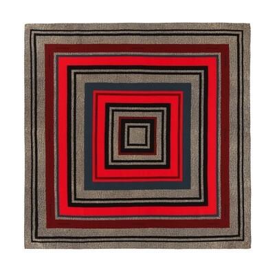 BORBONESE - Foulard stampa geometrica 90x90 - Safari/Neon