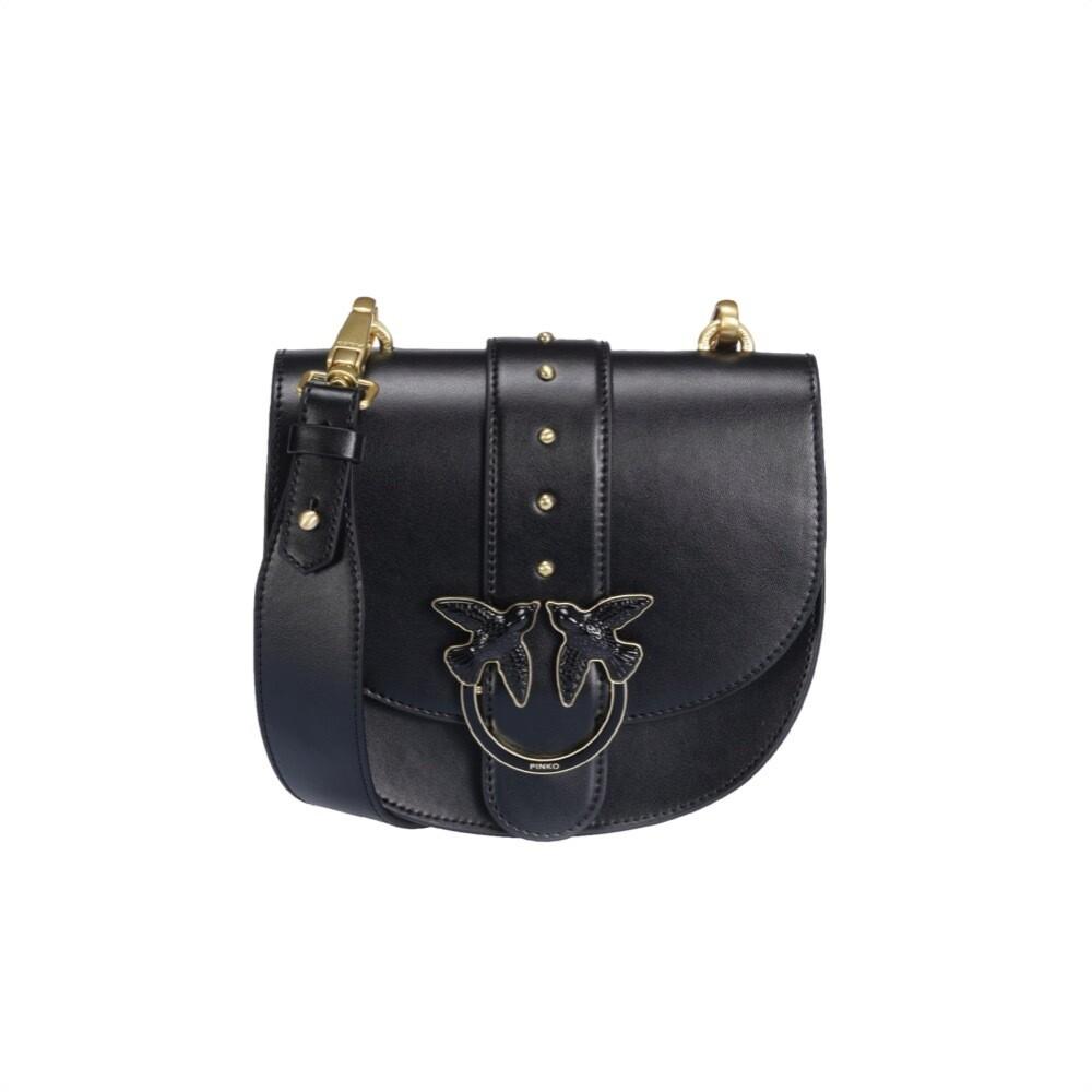 PINKO - Round Love Bag Simply in pelle - Black