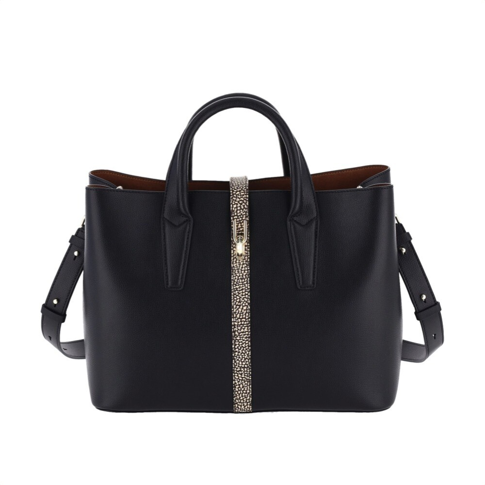 BORBONESE - Classy Borsa a mano Large in pelle - Black/OP Natural