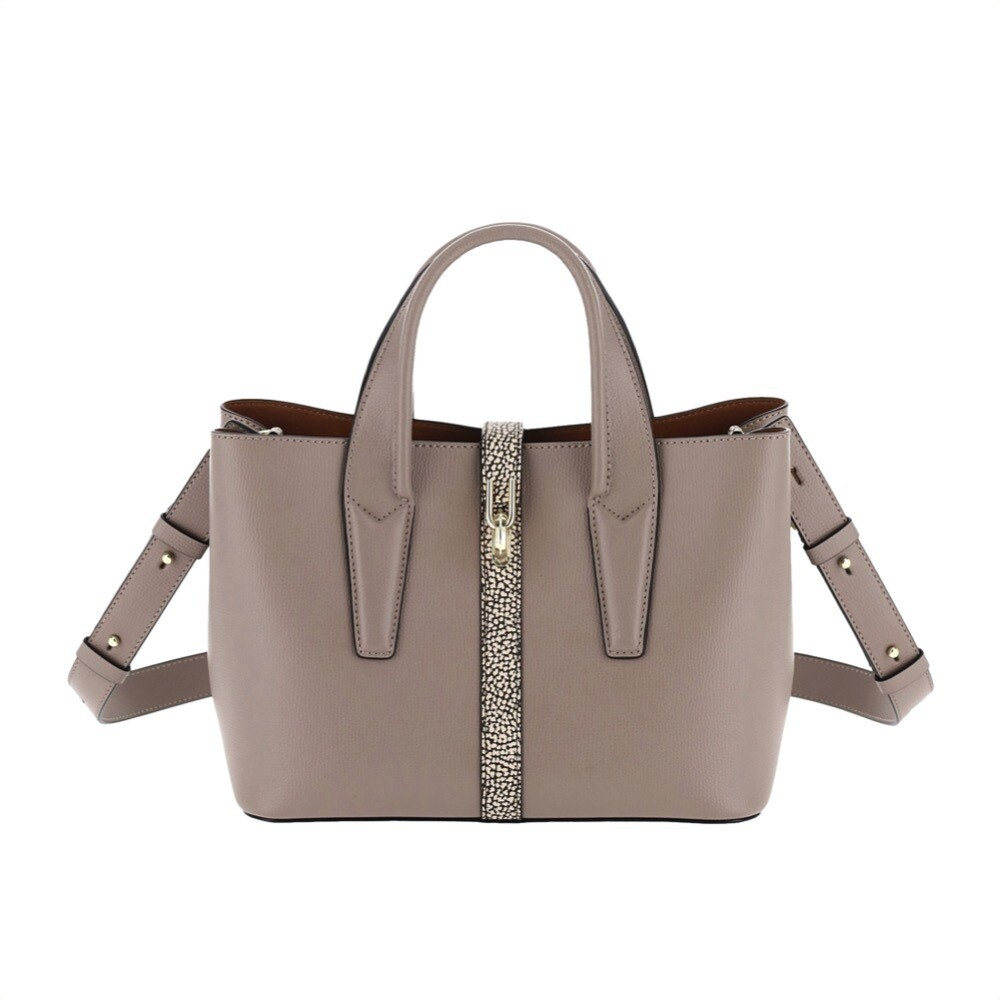 BORBONESE - Classy Borsa a mano Medium in pelle - Taupe/OP Natural