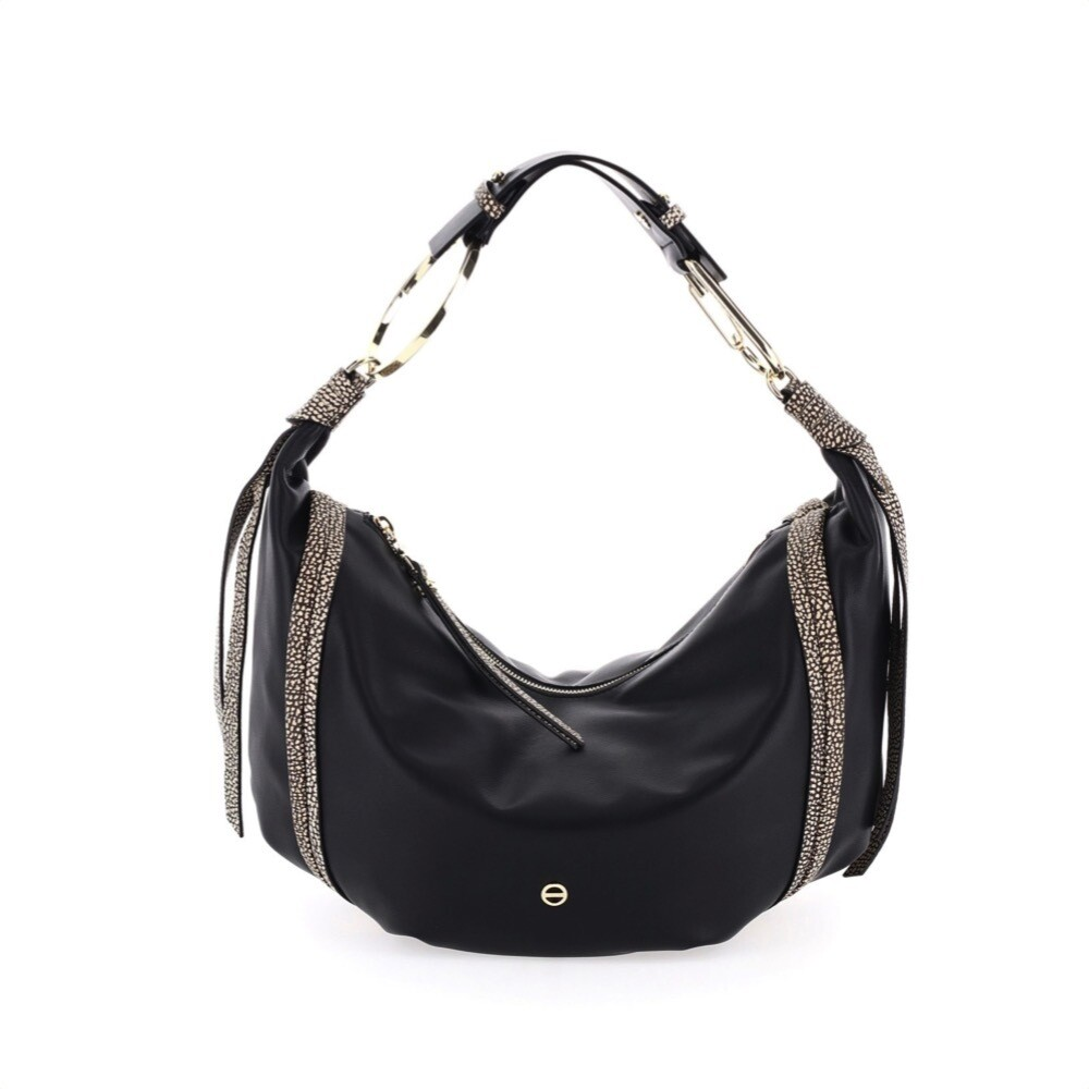 BORBONESE - Hobo Borsa Medium in pelle - Black/OP Natural