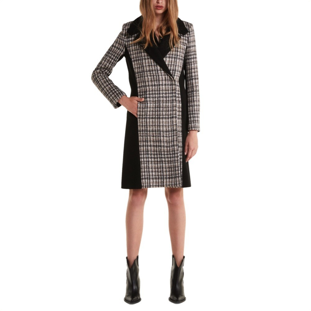 """PATRIZIA PEPE - Cappotto in panno di lana """"Moon Check"""" - Black/Grey Chekck"""