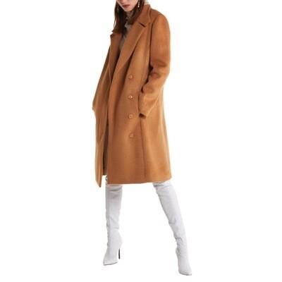 PATRIZIA PEPE - Cappotto midi effetto spettinato - Light Mustard Brown