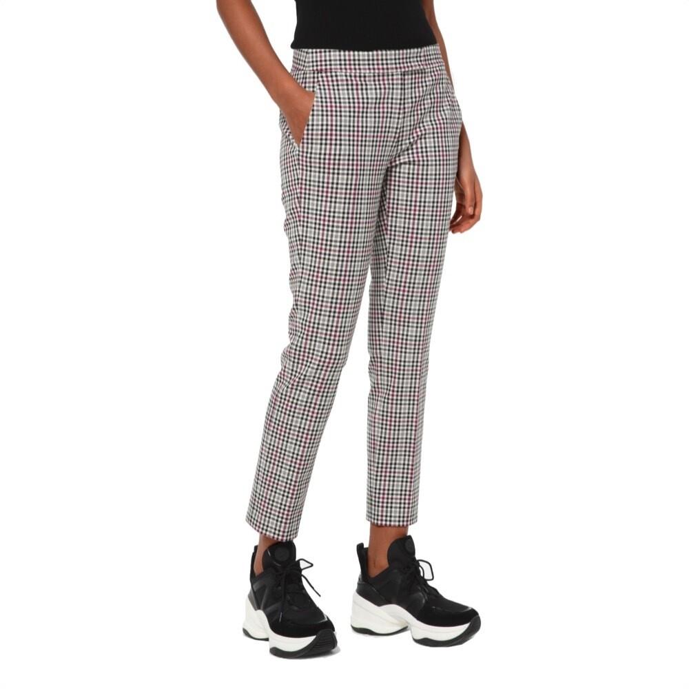 MICHAEL KORS - Pantalone taglio corto in twill principe di Galles - Bone/Garnet