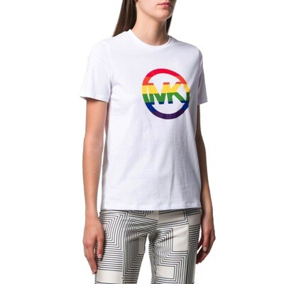 MICHAEL KORS - T-shirt Logo Rainbow - White