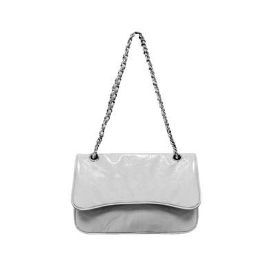 MIA BAG - Tracolla Media Patent Naplack Personalizzabile - Bianco