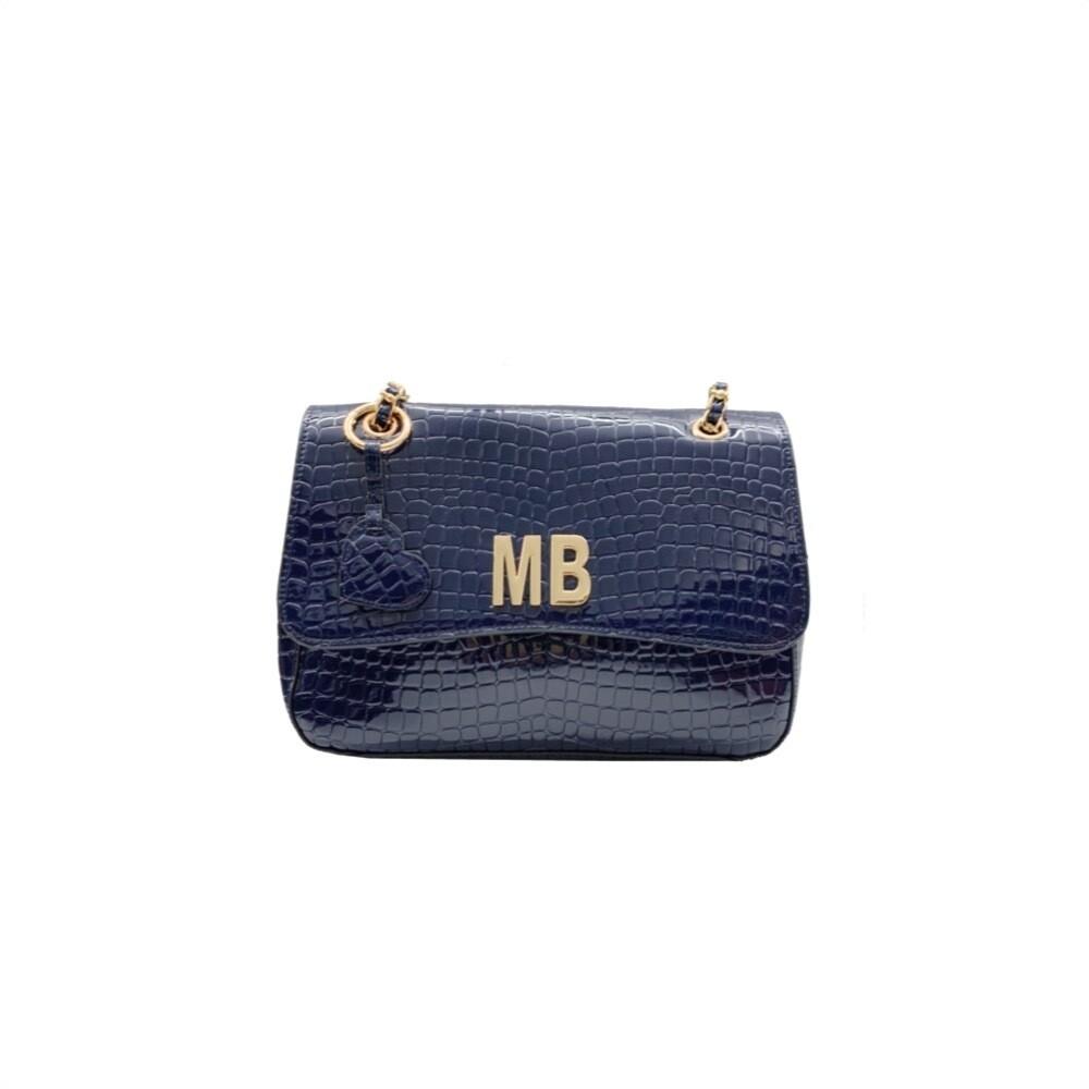 MIA BAG - Tracolla Cocco Patent - Blu