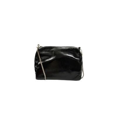 MIA BAG - Tracollina Patent Naplack Personalizzabile - Nero