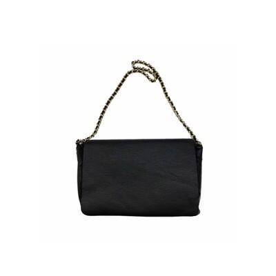 MIA BAG - Tracolla Ecopelliccia Reversibile Personalizzabile - Nero