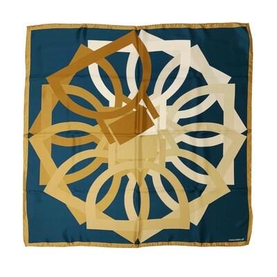 COCCINELLE - Arlettis Maxy Foulard 90x90 - Teal/Camel