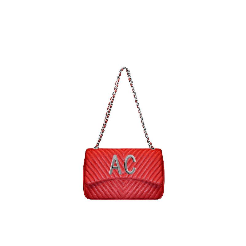 MIA BAG - Tracolla media Personalizzabile - Rosso con finiture ARGENTO
