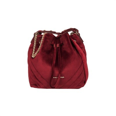 LANCASTER - Actual Velvet Couture Small Bucket Bag - Rouge