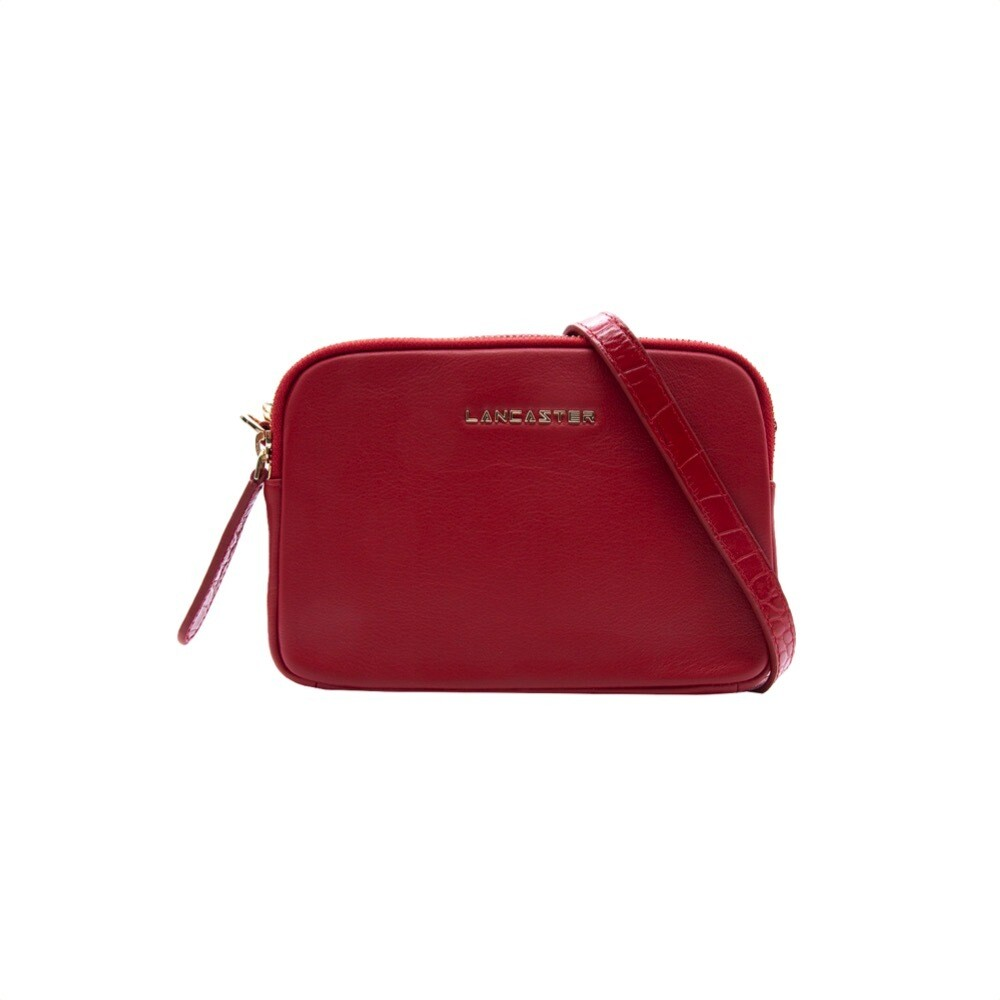 LANCASTER - Ana Mini Crossbody Bag - Rouge Croco