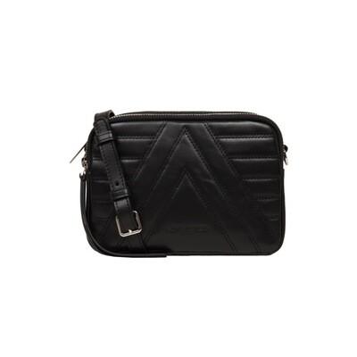 LANCASTER - Parisienne Matelassé ZIp Crossbody Bag - Noir