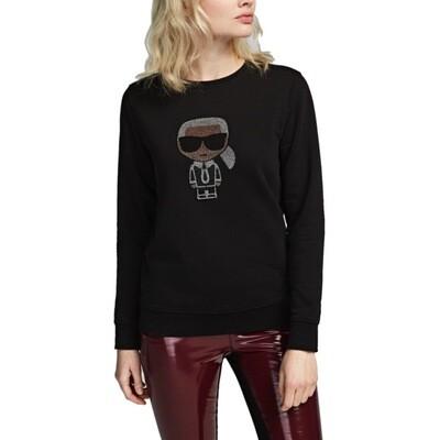 KARL LAGERFELD - K/Ikonik Sweatshirt con strass - Black