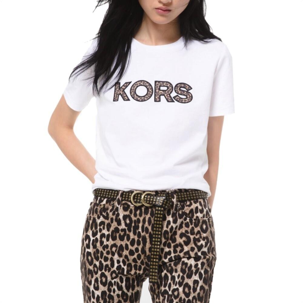 MICHAEL KORS - T-shirt in jersey di cotone con logo e stampa ghepardo - White