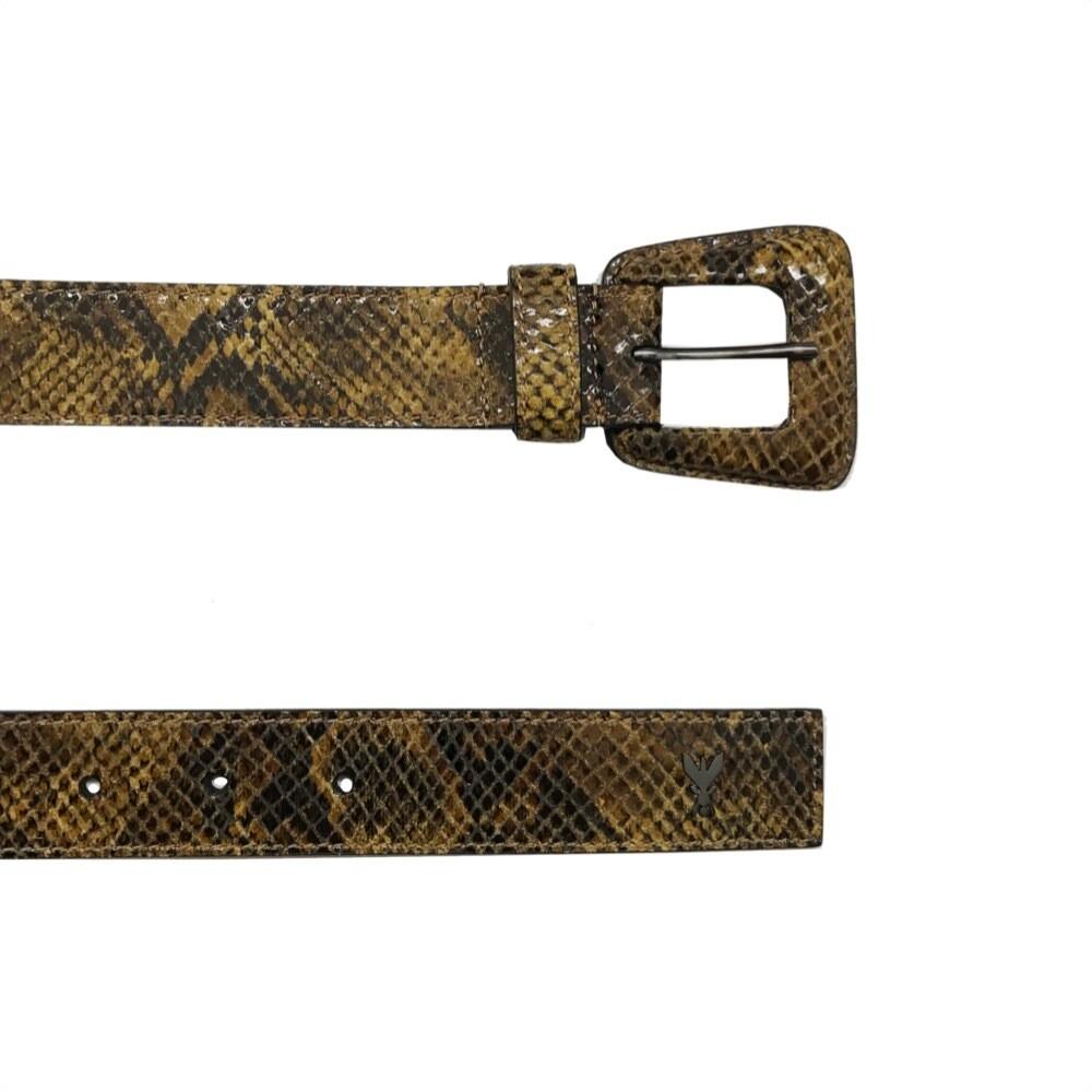 PATRIZIA PEPE - Cintura bassa con fibbia in pelle - Brown Python