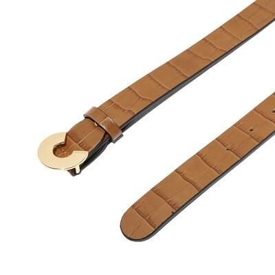 COCCINELLE - Cintura Logo C Croco in pelle - Tobacco