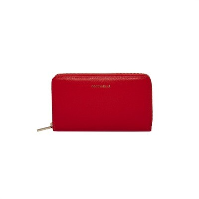 COCCINELLE - Metallic Soft Portafoglio Grande Zip Around - Polish Red
