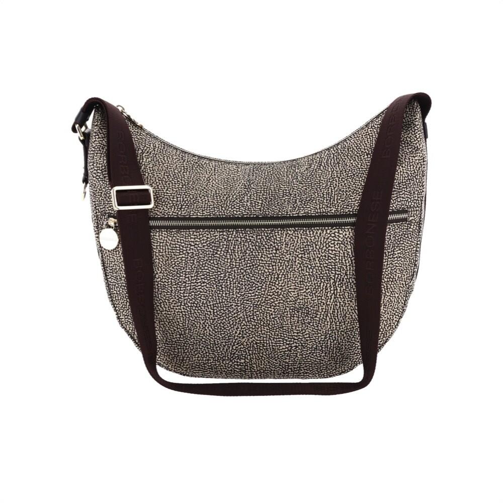 BORBONESE - Luna Bag Medium in Nylon Jet OP con tasca - OP Natural/Brown
