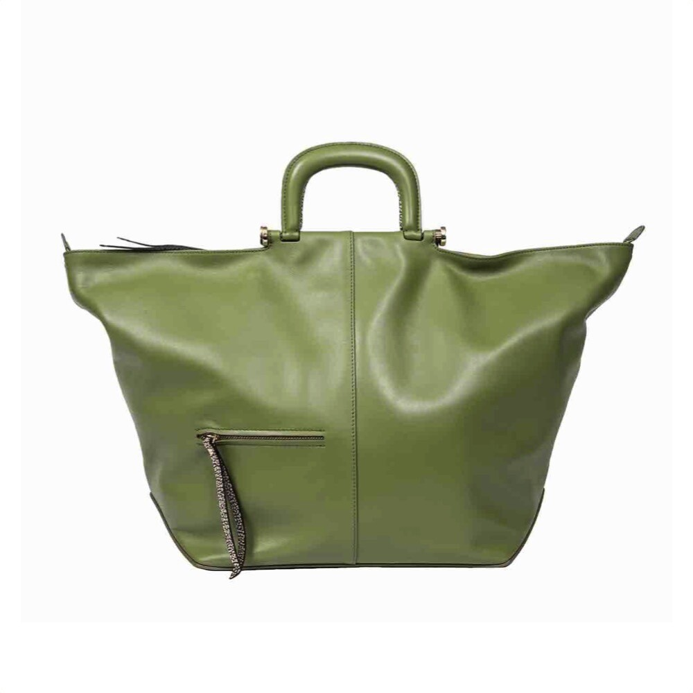 BORBONESE - Charlotte Borsa a mano Extra Large in pelle - Military Green