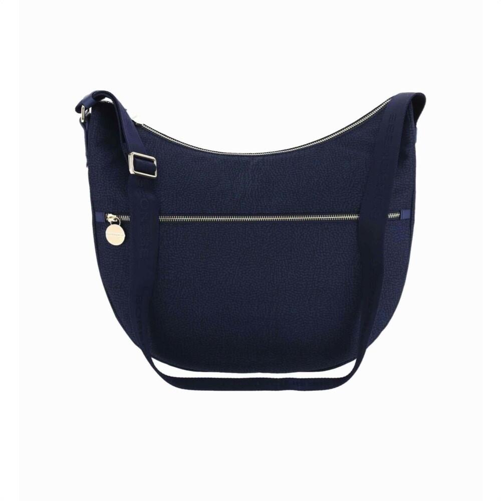 BORBONESE - Luna Bag Medium in Nylon Jet OP con tasca - Blue
