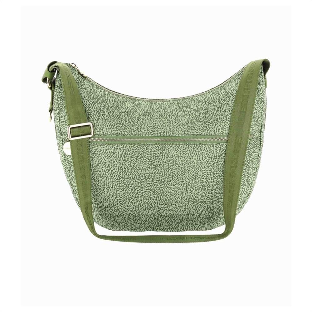 BORBONESE - Luna Bag Medium in Nylon Jet OP con tasca - Military Green