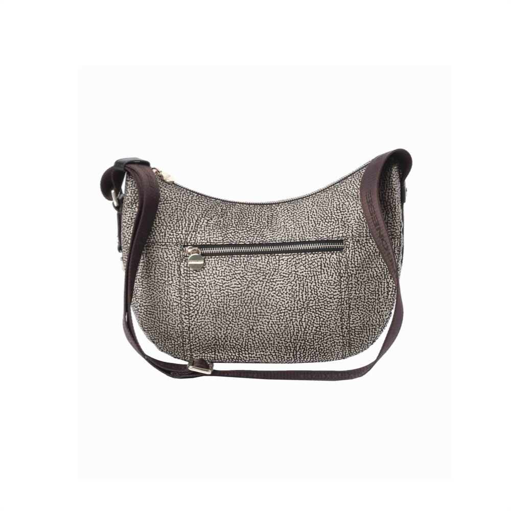 BORBONESE - Luna Bag Small in Jet O.P. e pelle con zip - Classico/Marrone