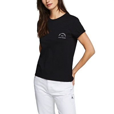 KARL LAGERFELD - T-Shirt con Taschino Rue St-Guillaume - Black