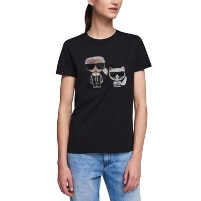 KARL LAGERFELD - T-Shirt Ikonik con Strass - Black